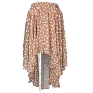 Forever 21 Skirt Peach Taupe Polka dot Small